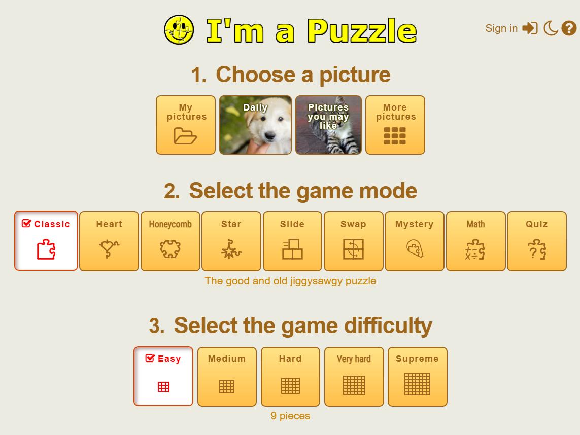 I'm a Puzzle main screen