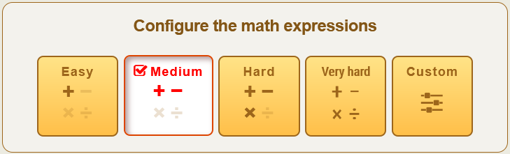 Configure the math expression options