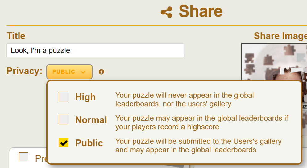 Publish the puzzle to the users' gallery by setting the field privacy to public.