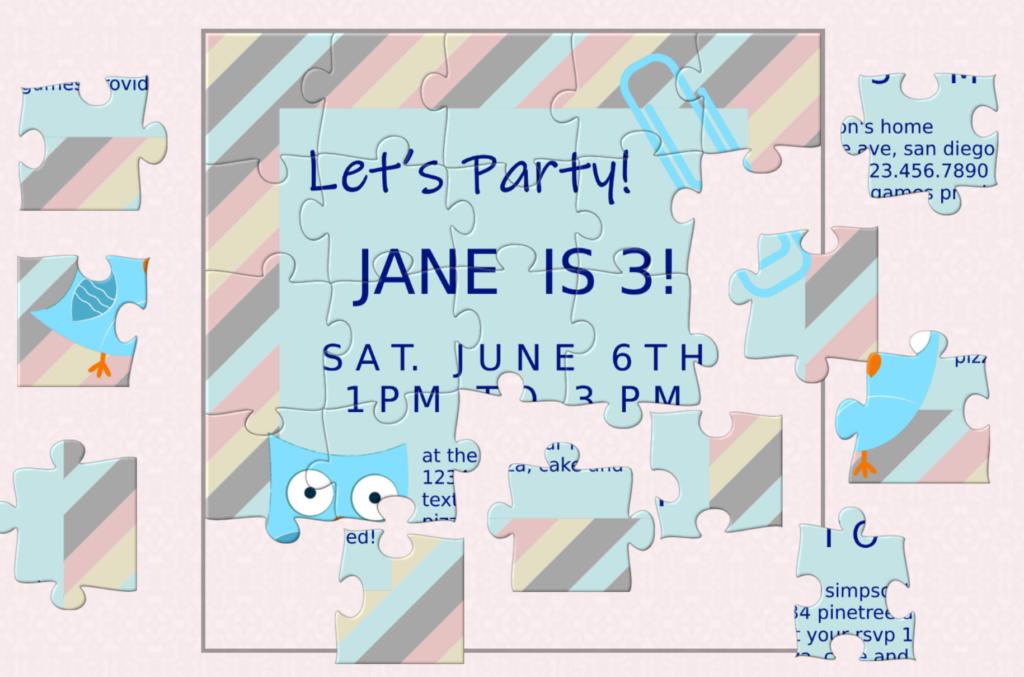 Birthday puzzle invitation