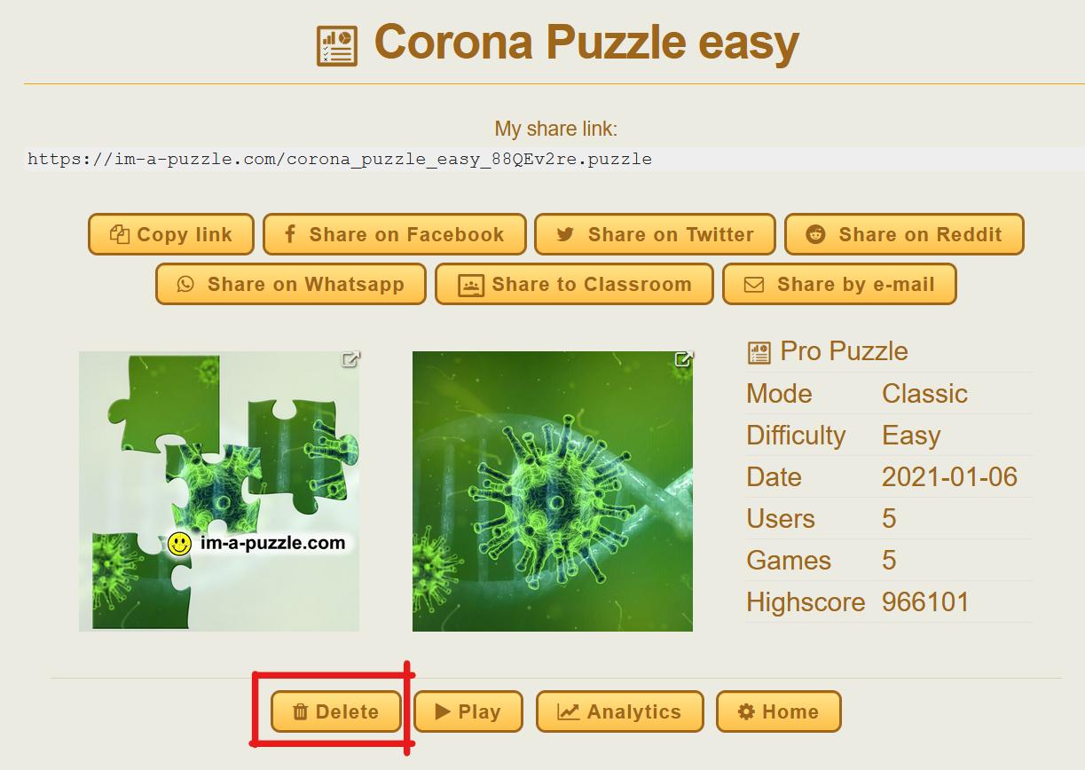 Delete a puzzle