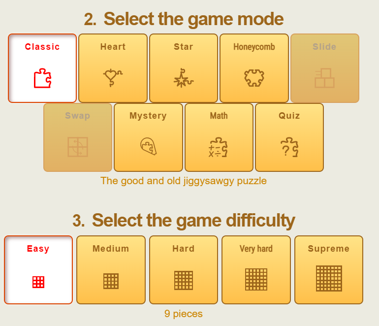 Game mode and difficulty for video puzzle